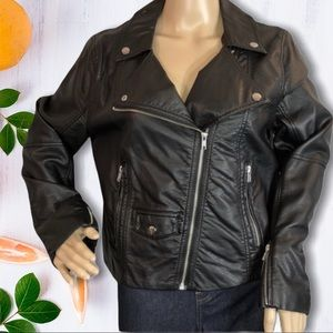 H&M Faux Leather Black Classic Style Moto Jacket